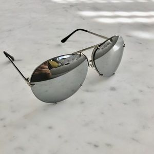 Accessories - Silver Mirrored Oversized Aviator Sunglasses